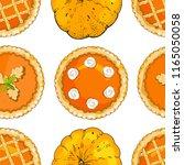 seamless pattern with pumpkin... | Shutterstock .eps vector #1165050058