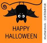 happy halloween. bat hanging.... | Shutterstock .eps vector #1165068418