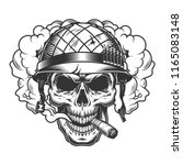 skull in smoke cloud and... | Shutterstock .eps vector #1165083148