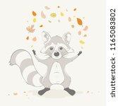 lovely cute raccoon boy toss... | Shutterstock .eps vector #1165083802