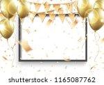 vector 3d blank black frame on... | Shutterstock .eps vector #1165087762