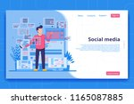 social media landing page... | Shutterstock .eps vector #1165087885