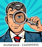 the man is a detective looking... | Shutterstock .eps vector #1165095955