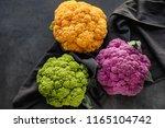 Colorful Cauliflowers On Dark...
