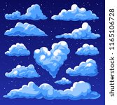 set of clouds isolated on blue... | Shutterstock . vector #1165106728