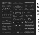 hand drawn ink dividers  lines... | Shutterstock .eps vector #1165114795