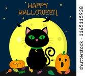 the halloween black cat sits... | Shutterstock .eps vector #1165115938