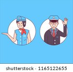aircraft or cabin crew with... | Shutterstock .eps vector #1165122655