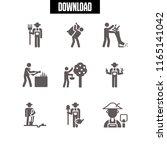 9 farmland vector icon set with ... | Shutterstock .eps vector #1165141042