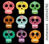 mexican color vector skulls for ... | Shutterstock .eps vector #1165142782