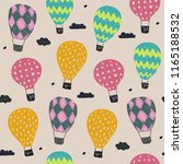 hand drawn pattern with balloon ... | Shutterstock . vector #1165188532