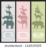 Stock vector bookmarks with animal silhouettes 116519335