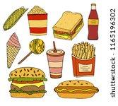 sandwich burger  hamburger... | Shutterstock .eps vector #1165196302