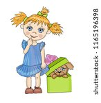 cute little girl with funny... | Shutterstock .eps vector #1165196398