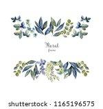 watercolor herbarium frame with ...   Shutterstock . vector #1165196575