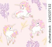 Stock vector seamless pattern background with unicorn and fantsatic flowers and glitter vector illustration 1165237132
