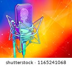 a professional microphone on a... | Shutterstock . vector #1165241068