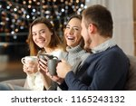 three friends talking and... | Shutterstock . vector #1165243132