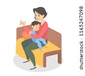 mother taking the temperature... | Shutterstock .eps vector #1165247098