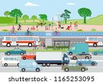 public transport with... | Shutterstock .eps vector #1165253095