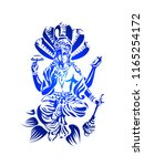 hindu lord vishnu sitting on... | Shutterstock .eps vector #1165254172