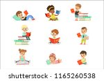 kids reading books and enjoying ... | Shutterstock .eps vector #1165260538