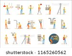 electrician in uniform and hard ... | Shutterstock .eps vector #1165260562