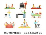 people on bbq picnic outdoors... | Shutterstock .eps vector #1165260592