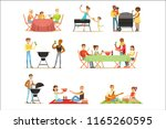 people on bbq picnic outdoors... | Shutterstock .eps vector #1165260595