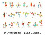 shopaholic people happy and... | Shutterstock .eps vector #1165260862