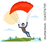 man jumping with parachute | Shutterstock .eps vector #1165276735