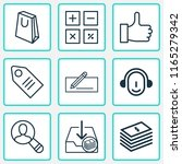 commerce icons set with paper... | Shutterstock .eps vector #1165279342