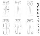 vector set of line sketch... | Shutterstock .eps vector #1165292542