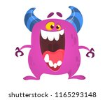 cute tiny monster surprised.... | Shutterstock .eps vector #1165293148