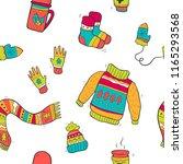 vector pattern of cute winter... | Shutterstock .eps vector #1165293568