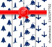 set of seamless marine summer... | Shutterstock .eps vector #1165297702