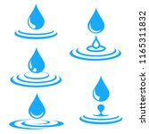 set of blue water drop and... | Shutterstock . vector #1165311832