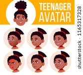 teen girl avatar set vector.... | Shutterstock .eps vector #1165317328