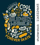 cool skater skeleton vector... | Shutterstock .eps vector #1165324645