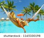 woman in hat sitting in hammock ... | Shutterstock . vector #1165330198
