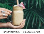 healthy smoothie drink  | Shutterstock . vector #1165333705