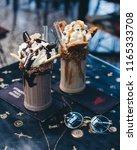 chocolate cookie milkshake   Shutterstock . vector #1165333708