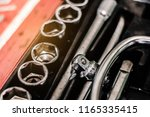 cose up of old toolbox. toolset ... | Shutterstock . vector #1165335415