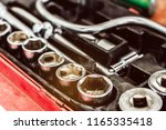 cose up of old toolbox. toolset ... | Shutterstock . vector #1165335418