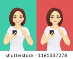 online review. woman holding... | Shutterstock .eps vector #1165337278