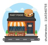 a restaurant building with the... | Shutterstock .eps vector #1165340755