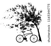 black autumn flowers tree   on... | Shutterstock . vector #1165344775