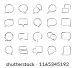 speech bubble charcoal icon set.... | Shutterstock .eps vector #1165345192