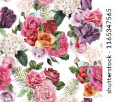 seamless floral pattern with... | Shutterstock . vector #1165347565