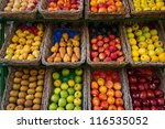 Fruits In Baskets On Market...
